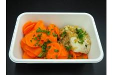 Dos de lieu noir, fondue de fenouil et carotte vapeur chez votre traiteur Comptoir d'Ernest (Rouen)